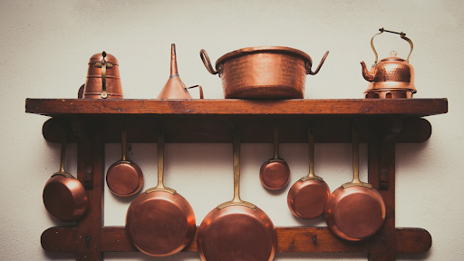 Copper Cooking utensils that Have Been Polished Frequently