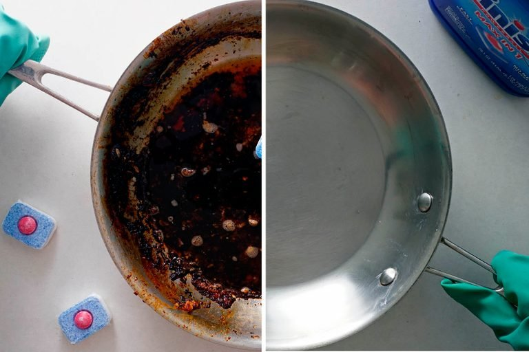 How to clean burnt pan with dishwasher tablet