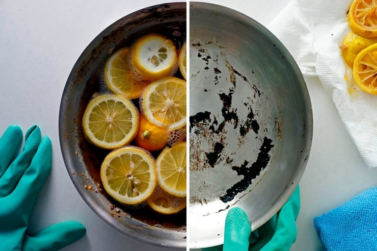 how to clean burnt pan with lemons